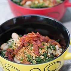 Kale and White Beans with Crunchy Bacon Panko Topping