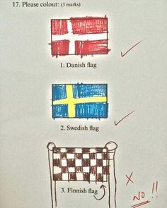 Funny pictures about Finnish Flag. Oh, and cool pics about Finnish Flag. Also, Finnish Flag photos. Funny Exam Answers, Funniest Kid Test Answers, Kids Test Answers, Hahaha Joker, Ode An Die Freude, Funny Texts, Funny Jokes, Epic Texts, Funny Minion