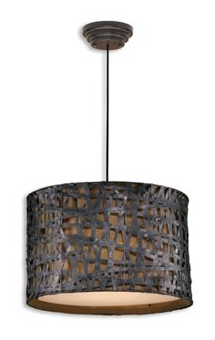 Three Light Metal Hanging Shade Pendant, Drum Shade, Bronze, Contemporary, Transitional, Industrial