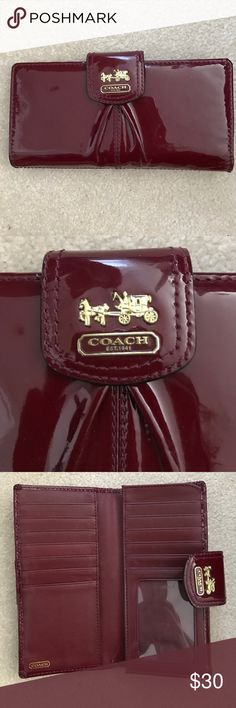 Coach Wallet Authentic Coach wallet. Patent burgundy leather with gold decal. Good used condition, some small signs of wear. Coach Bags Wallets