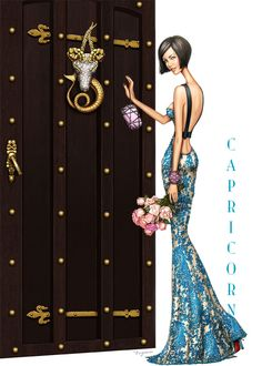 Capricorn - A sophisticated birthday card for the fashionista Fashion Art, Fashion Beauty, Fashion Design, Glamour Moda, Moda Paris, Illustration Sketches, Fashion Sketches, Fashion Illustrations, Creations