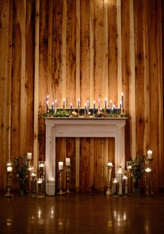 glowing and candle lit mantel for your night time wedding