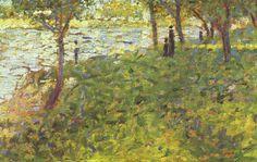 Georges Seurat.  Paysage et personnages. 1884-1885, Öl auf Holz, 15,7 × 26 cm. Paris, Privatsammlung. Pointillismus, Landschaftsmalerei. Frankreich. Neo-Impressionismus.  KO 02107