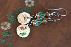 Rustic Artisan Ceramic Floral Jewelry A Flower II by Tribalis