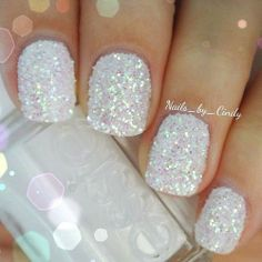super glitter white nails
