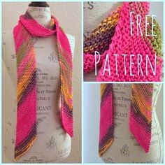 Easy Diagonal Scarf #Free #Knitting #Pattern <Cast on 23 stitches> < Row 1: Knit> <Row 2: Kfb, knit across to last 2 stitches, k2tog.> Repeat Rows 1 and 2 until only one yard of yarn remains