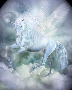Unicorn Cloud Dancer Print By Carol Cavalaris