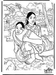 When Will You Marry, by Paul Gauguin: This site makes you sit through a short ad before loading the coloring page.