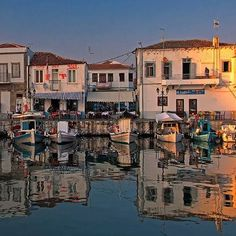 The old port in Myrina the capital of Lemnos Island. Old Port, Water Reflections, Great Shots, Greece Travel, Greek Islands, Great View, Sicily, Athens, Adventure