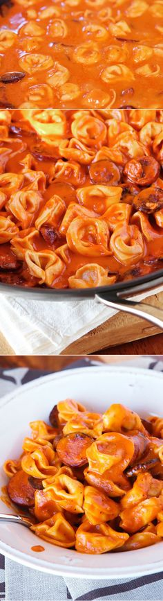 Cheesy Sausage Tortellini Recipe. SO GOOD! One dish, and done in 30 mins or less.