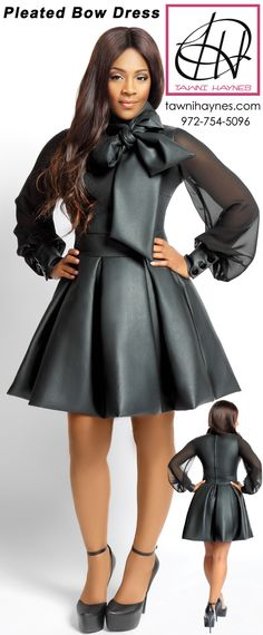 Tawni Haynes Pleated Bow Dress in Faux Leather with Sheer Sleeves! Choose to have your dress made with sheer or non-sheer sleeves as well as your desired skirt length, fabric type, & color! Shop online @ http://shop.tawnihaynes.com/product-p/pltd-bow-drss.htm or call 972-754-5096