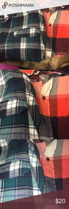 Flannel bundle Bundle of oversized men's flannels. Look so cute with leggings and a crop top or even tee shirt!   Really clearing out sales going on in closet. And I love offers! And will accept all reasonable Tops