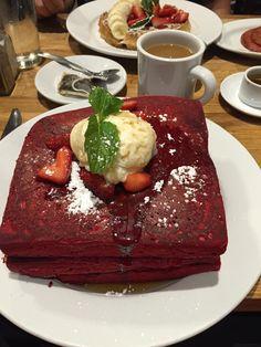 Red velvet pancakes. Green eggs cafe Philadelphia PA. #TTDD