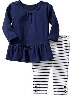 Long-Sleeved Tunic & Leggings Sets for Baby | Old Navy--top with yellow and white leggings and head wrap and moccasins