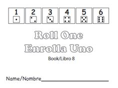 Free printable math books for preK: Roll One/ Enrolla Uno