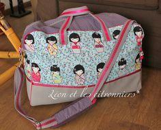 sac de voyage japonisant - tissu kokeshi - (rose, fuchsia, violet, gris, bleu) Léon et les citronniers*
