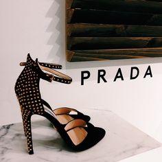 Prada gold studded ankle strap high heel sandals. womens high heels.