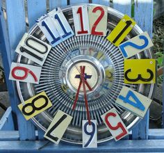 Vintage Chevrolet Hubcap License Plate Wall Clock by dables, $60.00