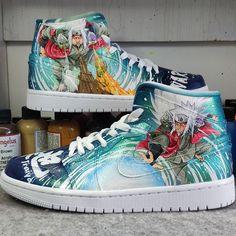 Custom Naruto Air Jordan 1 Sneakers Painted Canvas Shoes, Hand Painted Shoes, Painting Shoes, Custom Jordans, Unique Christmas Gifts, Vans Sk8, On Shoes, Jordan 1, Air Jordans