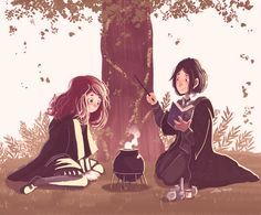 "Snape and Lily by Space Dementia gif - Severus: ""Thought we were supposed to be friends?"" Lily: ""We are, Sev. Fanart Harry Potter, Arte Do Harry Potter, Harry Potter Marauders, Harry Potter Drawings, Harry Potter Books, Harry Potter Universal, Harry Potter Memes, Harry Potter World, The Marauders"