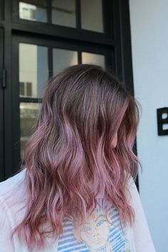 """The Raddest Way To Wear Colorful Hair Right Now #refinery29 http://www.refinery29.com/pink-hair-dye-rose-color-photos#slide-8 For those that love the edgy feeling of slide one, but want something a touch bolder, this is your look. Choi calls this version she created """"lilac shadows"""" and suggest asking for lilac color over blond highlights. This can even be done over old, grown-out highlights if your base is naturally deeper and won't absorb as much color as your lengths. Choi notes that…"""