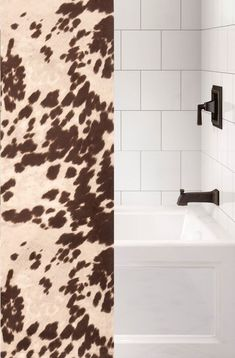 Custom made to order fabric shower curtain using our faux hair-on cowhide fabric called Udder Brown with a medium brown and off-white color spotted cattle pattern in a fabric that can be used with any rustic western bathroom or southwest bathroom decor that needs a unique western ranch look. Made and Ships from Wooded River. We can also do 'custom sizes' - please contact us for a quote. See details tab for important info. Western Bathroom Decor, Western Bathrooms, Western Baths, Cowhide Fabric, Wood River, Southwest Decor, Gifts For Office, Off White Color, Bathroom Colors