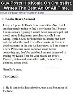 Best Craigslist Ad Of All Time Click the picture to read all of it