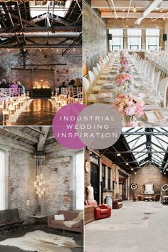 Get a ton of inspiration and ideas, from furniture to lighting to decor, for styling your industrial wedding and reception! Wedding Themes, Wedding Styles, Wedding Venues, Wedding Decorations, Wedding Ideas, Industrial Wedding Inspiration, Industrial Wedding Decor, Industrial Lighting, Estilo Industrial Chic