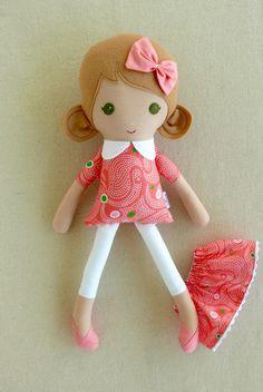 Tela trapo muñeca luz marrón pelo niña muñeca de por rovingovine