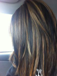 Maybe do a few chunky caramel highlights Hair Color And Cut, Brown Hair Colors, Hair Colour, Love Hair, Great Hair, Hair Color Highlights, Auburn Highlights, Caramel Highlights, Hair Expo