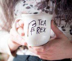 Tea-Rex >> Ceramic Coffee Mug >> Coffee Cup >> Hand Painted >> Unique T-Rex Design >> Customizable
