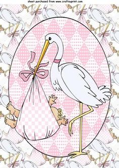 Baby girl stork topper on Craftsuprint designed by Sharon Poore - baby girl stork topper - Now available for download!