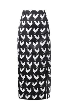 High Waist Rooster Print Pencil Skirt by A.W.A.K.E for Preorder on Moda Operandi