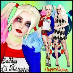Harley Quinn V2 ( Inc Boots and Puddin necklace) by fruitydon - The Exchange - Community - The Sims 3