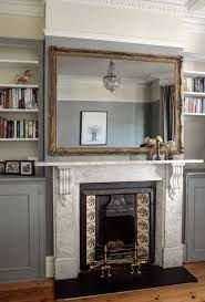 Living room victorian fireplace, Farrow and Ball Lamp Room Grey? Victorian Living Room, Victorian Fireplace, Victorian Homes, Over Fireplace Decor, Mirror Above Fireplace, Fireplace Bookcase, Mantle Mirror, Grey Fireplace, Fireplace Decorations
