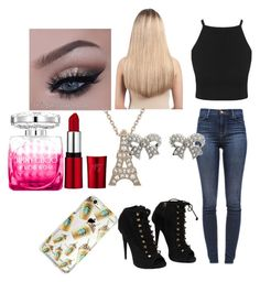 Cat by madi-lydon on Polyvore featuring beauty, Extension Professional, M&Co, J Brand, Giuseppe Zanotti and Jimmy Choo
