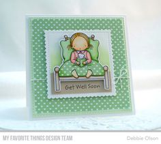 Bed Rest stamp set and DIe-namics, Stitched Mini Scallop Square STAX Die-namics - Debbie Olson #mftstamps