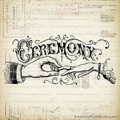 Ceremony Text Words Title Digital Image Download for Iron on Transfer, Papercrafts, Pillows, T-Shirts, Tote Bags, Burlap, No 01606. $1.00, via Etsy. Beautiful Typography.