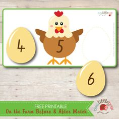 Free On the Farm Before and After Number Matching Game Check out the website for 85 more well-designed freebies! Numbers Preschool, Preschool At Home, Learning Numbers, Math Numbers, Preschool Math, Teaching Kindergarten, Farm Activities, Spring Activities, Montessori