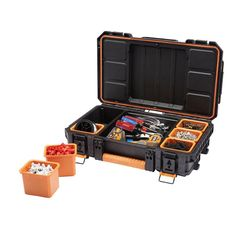 Ridgid has come out with a new line of stackable tool boxes, and also a new cylindrical tube-shaped tool box as well. Tool Organization, Tool Storage, Storage Ideas, Organizer Bins, Garage Storage, Storage Chest, Organizing, Storage Bins With Wheels