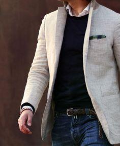 Polo Ralph Lauren Grey Slim-Fit Puppytooth Linen Blazer | Mens ...
