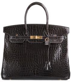 Graphite Porosus Birkin Bag – 35cm