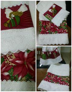 Toalhas de Lavabo Natal Christmas Towels, Christmas Sewing, Handmade Christmas, Christmas Stockings, Christmas Crafts, Christmas Decorations, Christmas Ornaments, Holiday Decor, Christmas Bathroom