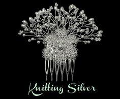 Tocado para Novia en Hilo de Plata con Perlas de KNITTING SILVER