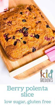berry polenta slice, perfect recipe for the lunchbox! Lo sugar, gluten free