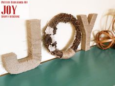JOY {Pottery Barn Knock-Off} | simple DIY Holiday or Christmas decor inspired by Pottery Barn by Simply Designing