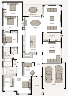 Floor Plan Friday: Good use of space Hi! I found this plan last week – you might like this one. It's called the Monterey Nouveau from here. You can also click. Dream House Plans, House Floor Plans, My Dream Home, Dream Houses, 6 Bedroom House Plans, Modern Floor Plans, The Plan, How To Plan, Narrow House