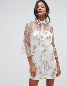 Boohoo Floral Organza Flute Sleeve Shirt Dress