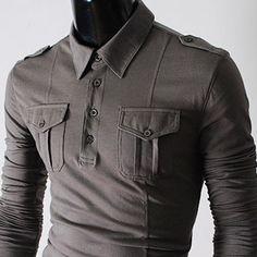 Mens slim pocket & strap T-shirts GRAY
