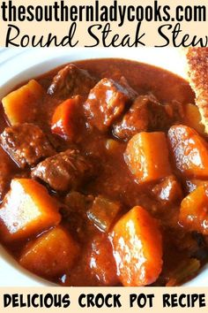 Nutritious Snack Tips For Equally Young Ones And Adults Round Steak Stew-The Southern Lady Cooks-Crock Pot Recipe Crock Pot Slow Cooker, Crock Pot Cooking, Slow Cooker Recipes, Cooking Recipes, Crock Pot Stew, Budget Cooking, Crock Pots, Budget Recipes, Healthy Recipes